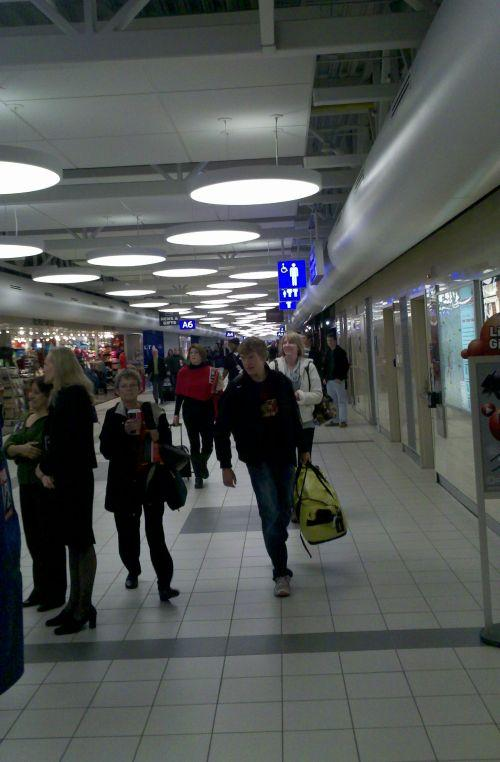 Travelers at the newly-rehabbed Concourse A on December 20, 2011.