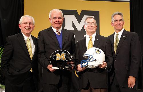 Brady Deaton (second from right), Chancellor of the University of Missouri and Mike Alden (far right), Athletic Director at the University of Missouri at the announcement that Mizzou would join the Southeastern Conference on Nov. 6, 2011.