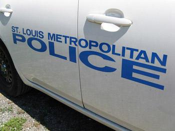 The side of a St. Louis Metropolitan Police patrol vehicle.
