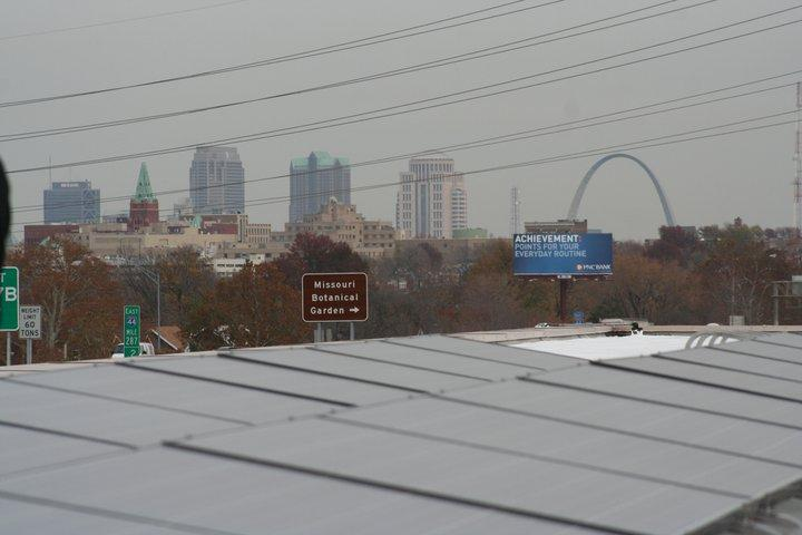This array of solar panels on top of a building helps power the Missouri Botanical Garden in St. Louis.