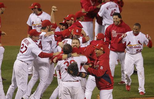 Members of the St. Louis Cardinals celebrate after the Cardinals won the 2011 World Series in St. Louis on October 28, 2011.