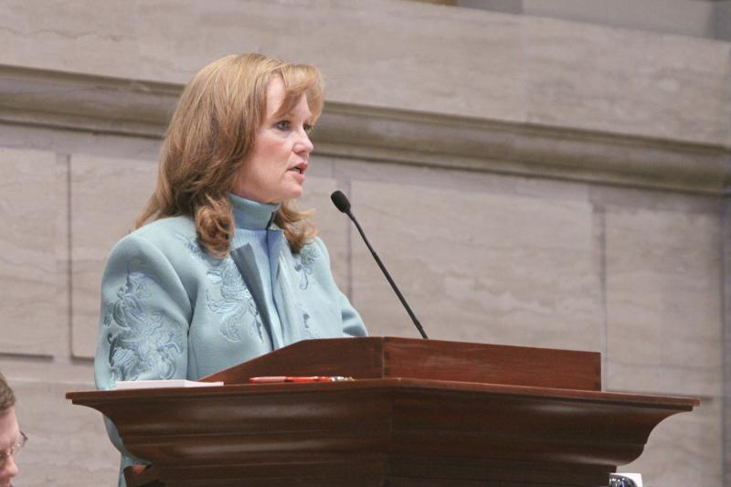 "State Sen. Luann Ridgeway, pictured here presiding over the chamber in 2011, says she is ""very committed"" to entering the GOP primary for lieutenant governor."