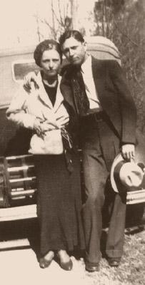 Infamous outlaw couple Bonnie and Clyde.