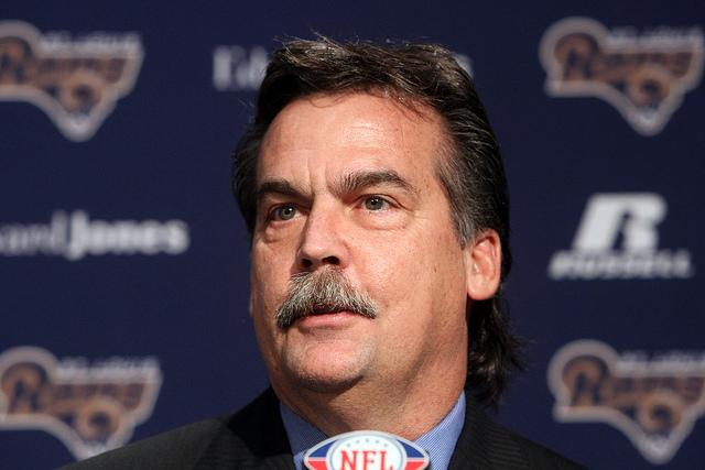 New Rams head coach Jeff Fisher answers questions from the media at Rams Park in Earth City on Jan. 17,  his first day on the job.