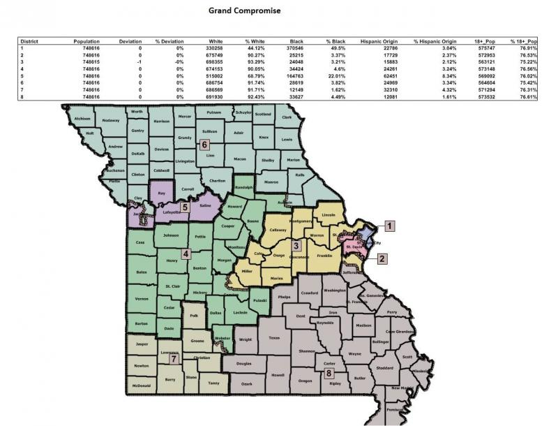 "The ""Grand Compromise Map"" passed by Mo. lawmakers in 2011."