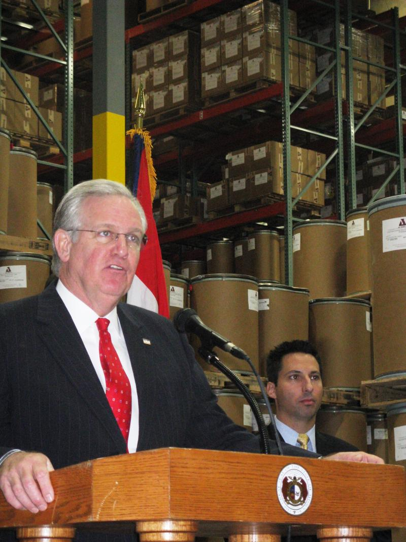 Mo Gov.  Jay Nixon outlines his Missouri Works initiative during a visit to Jost Chemical Co. in St. Louis.