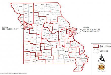 The latest version of the Missouri Senate redistricting maps, which was released on Dec. 9, 2011. A Columbia lawyer wants the maps invalidated.