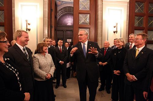 Missouri Governor Jay Nixon speaks to the leadership of both parties in the House of Representatives and Senate before delivering the State of the State address at the State Capitol in Jefferson City, Missouri on January 17, 2012.