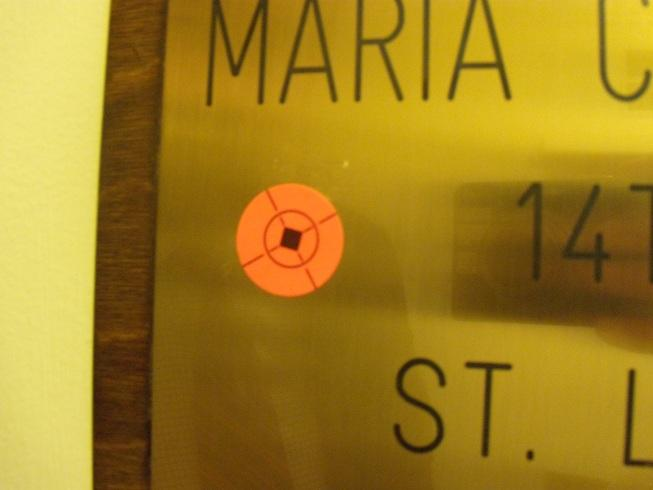 One of two rifle target stickers found ouside the State Capitol office of Sen. Maria Chappelle-Nadal (D, University City) on Jan. 24, 2012.