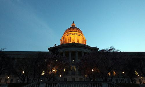 The dome shines brightly on the Missouri State Capitol as the sun begins to set in Jefferson City, Missouri on March 22, 2011.
