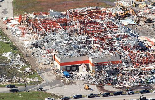 An aerial view shows the destruction of the Home Depot in Joplin, Mo. on May 24, 2011. The tornado that hit Joplin on May 22 claimed 161 lives. The Home Depot has since been rebuilt.