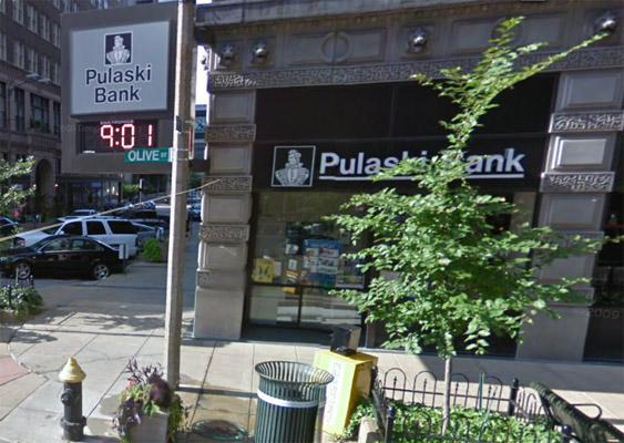 A Google Maps screen capture of Pulaski Bank at 900 Olive St. in downtown St. Louis. The bank was robbed twice in as many days.