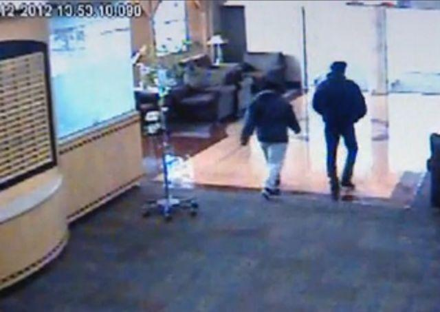 This screen capture of security footage from Cardinal Glennon Children's Hospital shows 14-year-old Brittany Jones leaving the building with her father. Brittany was found safe in Milwaukee around 11 p.m. on Feb. 12.