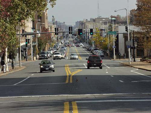 Looking east onto The Loop area from near the intersection of Kingsland Ave. and Delmar Blvd. in University City.