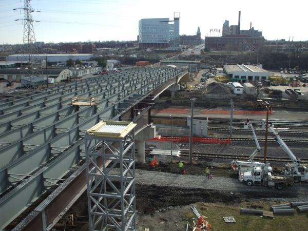 The Feb. 15, 2012 photo shows the progress of construction on the new Grand Ave. viaduct in Midtown. It's expected to open to traffic about a month late because of construction delays.