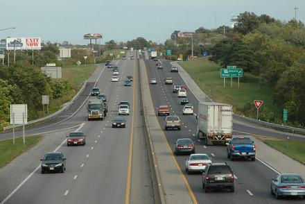 Interstate 70 in Columbia, Mo., between St. Louis and Kansas City. The stretch of interstate between St. Louis and Kansas City could become a toll road under a new proposal.