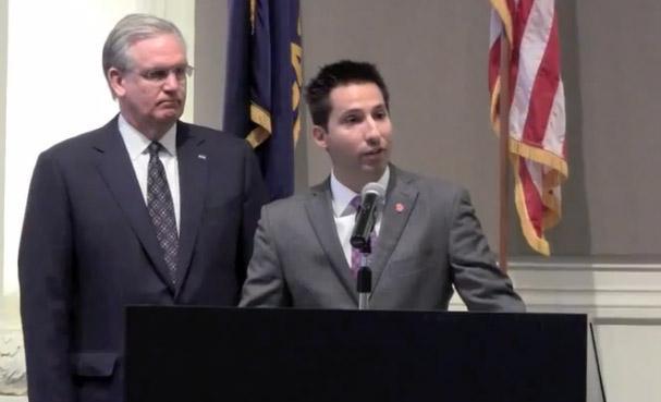 Jason Hall (at podium) with Missouri Gov. Jay Nixon. Nixon was introducing Hall as his nominee to be the next director of the Missouri Department of Economic Development in late Dec. 2011. Senators have since scuttled Hall's nomination.