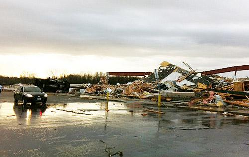 Severe weather destroyed a Shopping Center in Harrisburg, Ill. on February 29, 2012. Winds were reported overnight at about 60 miles per hour.