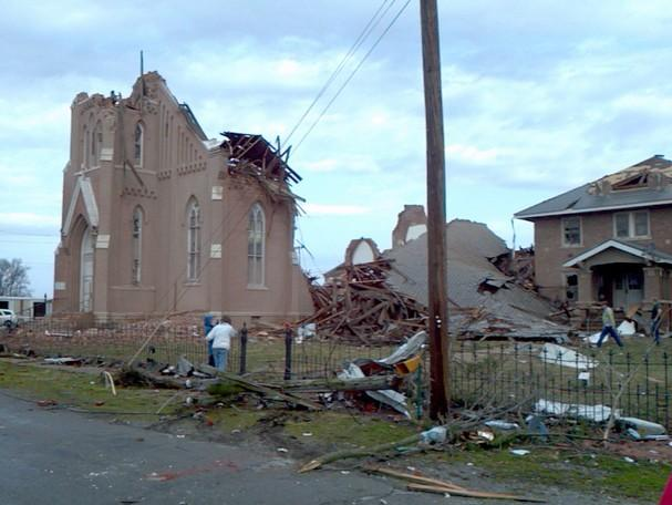 Damage at St. Josephs Catholic Church in Ridgway, Ill., approximately 10 miles from Harrisburg, Ill.  following the severe storms on Wednesday morning.
