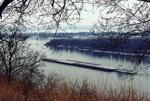A barge travels the Mississippi River.