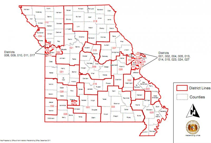 A copy of the State Senate map rejected last month by the Missouri Supreme Court.  A citizens' commission appointed by Gov. Jay Nixon has reached a tentative agreement on a new map, a link to which is provided in the article below.