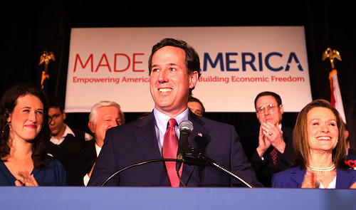 Republican presidential candidate Rick Santorum speaks to supporters after winning the Missouri Primary during a rally in St. Charles, Missouri on February 7, 2012.