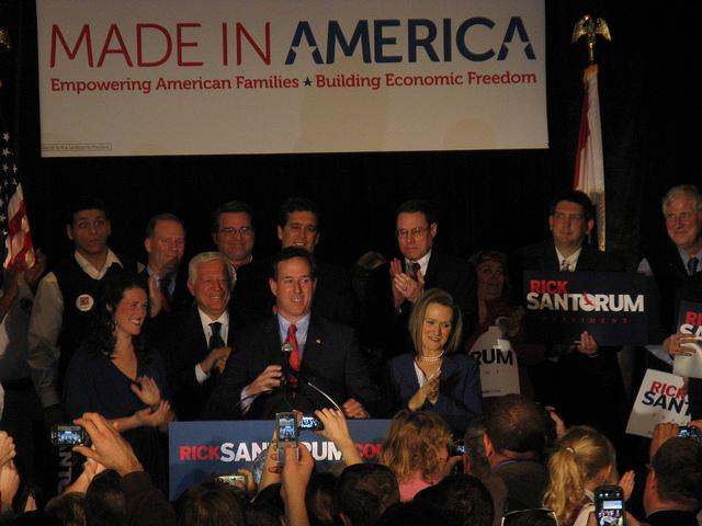 Santorum speaks to supporters after his commanding primary win.