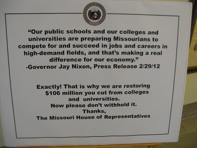 A sign posted outside the office door of Mo. House Budget Chairman Ryan Silvey (R, Kansas City).