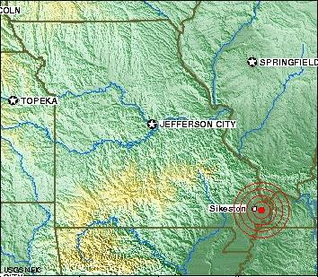 An earthquake hit southeast Missouri at 4 a.m. this morning. The U.S. Geological Survey was centered about five miles from East Prairie, Mo.