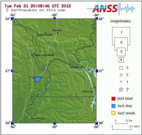 A map highlighting the two separate earthquakes that occurred today in southeast Missouri. The two incidences are represented by the two blue squares on the map.