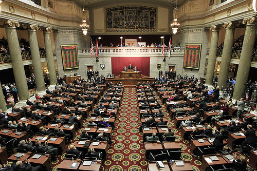 The chambers of the Missouri House of Representatives at the Missouri Capitol in Jefferson City.