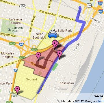 The route (in blue) of the River City Grand Parade Saturday in St. Louis.