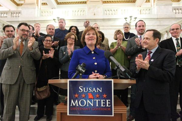 Former Missouri State Auditor Susan Montee is welcomed to the podium by St. Louis Mayor Francis Slay (R) and supporters at St. Louis City Hall, as she announces she will run for the office of Missouri Lieutenant Governor, in St. Louis on February 7, 2012.