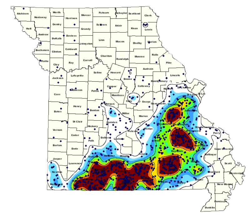 A map of the distribution of black bears in Missouri based on observations from 1989-2010.