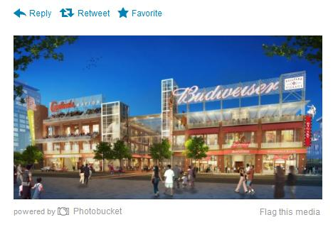 "A screen capture of a new artist rending of Ballpark Village - with Anheuser-Busch in as an ""anchor partner."""