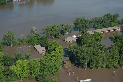 Flood waters from the Missouri River cover most of Big Lake State Park in the summer of 2011.