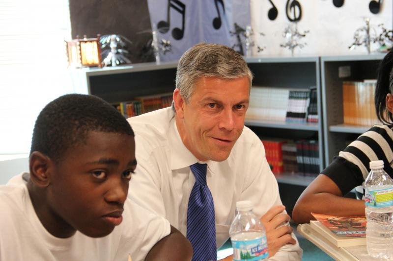 US Secretary of Education Arne Duncan sits in on a conflict resolution lesson at Vashon High School, on June 25.  He was there to see what impact a federal grant is having on turning around the struggling school.