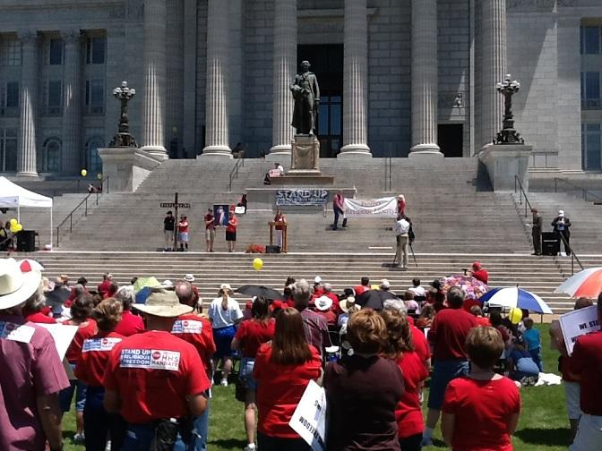 About 200 people attended the rally on the South Lawn of the Missouri Capitol opposing the contraceptive mandate.