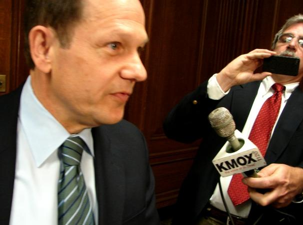 St. Louis Mayor Francis Slay says firefighter pension costs have gone up by more than 500 percent in the last 10 years.