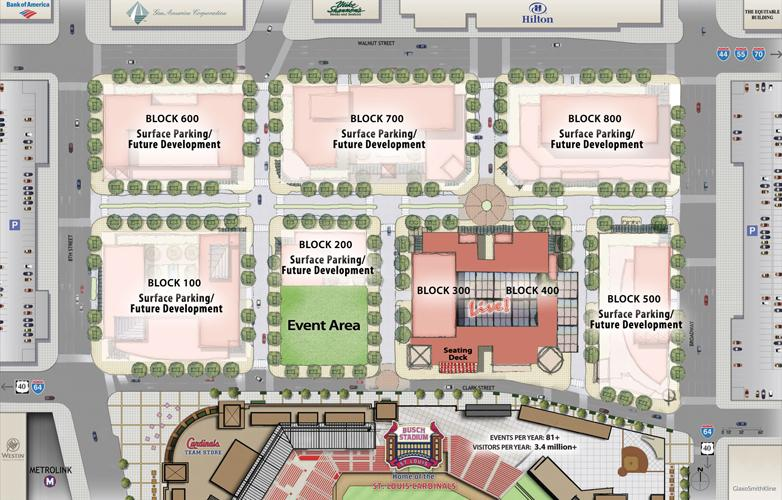 A plan of the Ballpark Village layout.