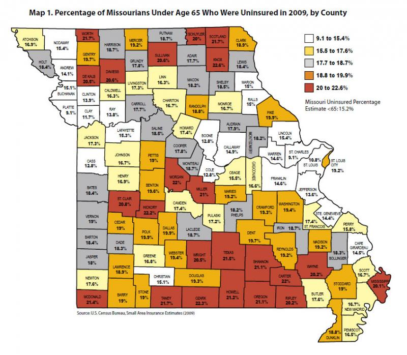 A map detailing a county-level look at the percentage of Missourians who were uninsured and under age 65 in 2009. Click on the map to expand and learn more.
