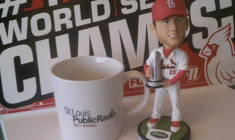 St. Louis Public Radio's (staged) newsroom display of support for Cardinals third baseman David Freese.
