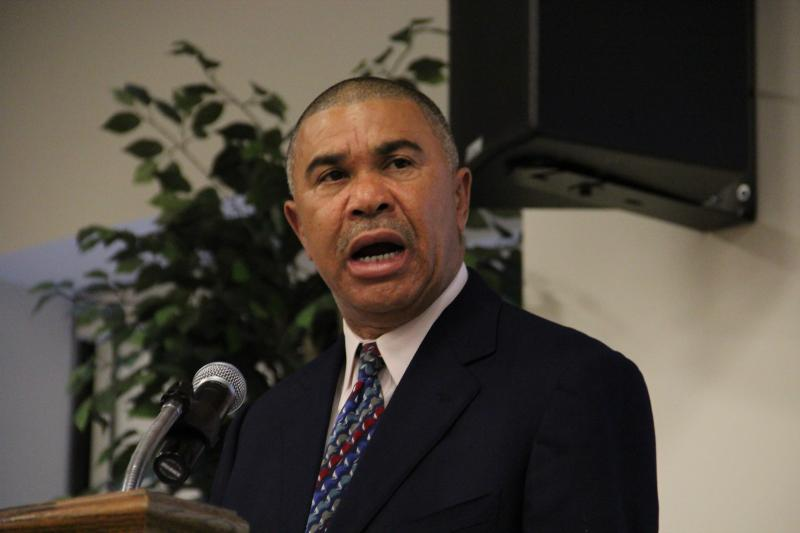 Congressman Lacy Clay speaks at a media event promoting a veteran jobs training grant awarded to the City of St. Louis and the St. Patrick Center.
