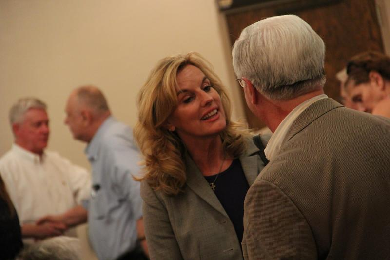 Former Mo. State Senator and Treasurer Sarah Steelman speaks with voters at the Gravois Township Republican Meeting.