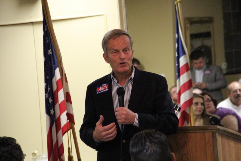 U.S. Rep. Todd Akin fields questions at a GOP Meeting in North St. Louis.