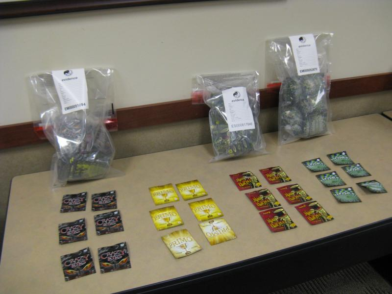 "A sample of the items seized during the St. Louis portion of nationwide operation ""Log Jam."" The operation is a crackdown on synthetic drugs."