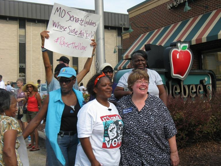 Jeanette Mott Oxford after a rally supporting an increase in the minimum wage.