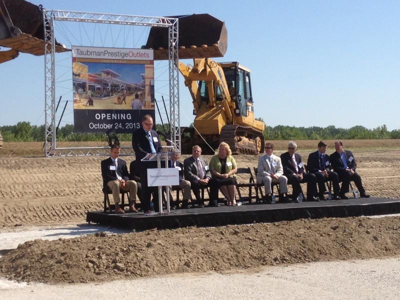 The groundbreaking ceremony for Taubman Prestige Outlets in Chesterfield, Mo. on July 25, 2012. Another outlet mall broke ground less than a mile from this site two weeks earlier.