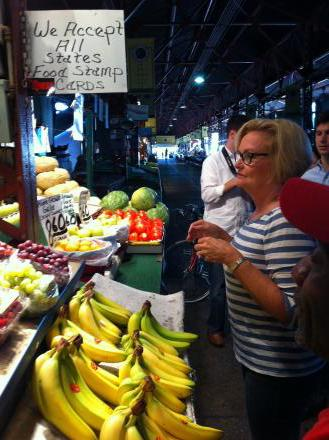 U.S. Senator Claire McCaskill at the Soulard Farmers Market.