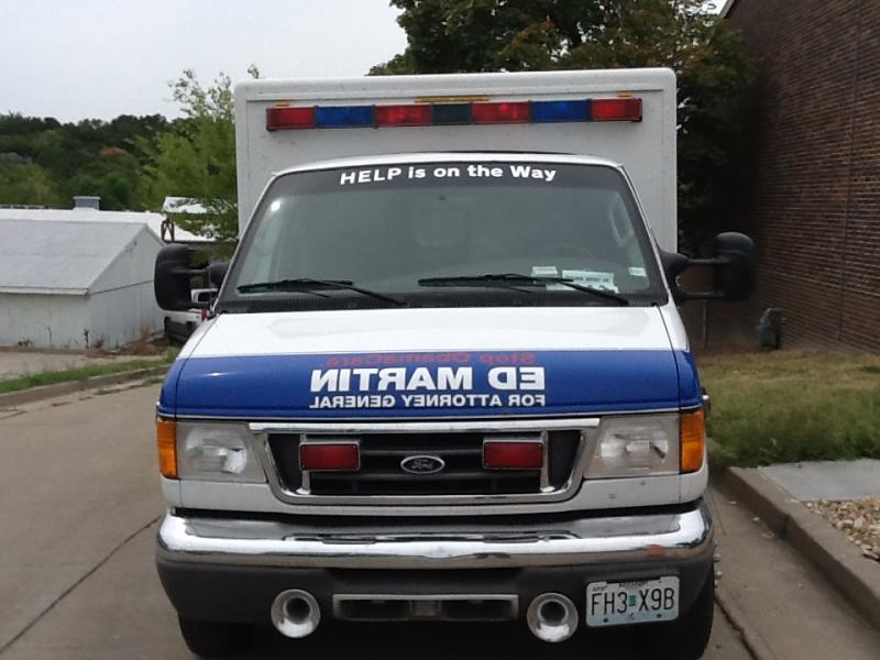"A front view of Martin's campaign ""ambulance."""